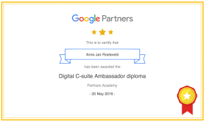 Google Partners diploma Digital C-suite Ambassador diploma Anne Jan Roeleveld